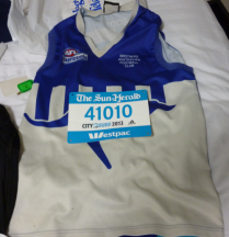 Part of the outfit and bib number, certainly a one of a kind