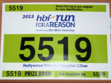 12km run bib for Run For A Reason in Perth