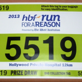 12km run bib for Run For A Reason in Perth