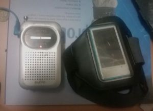 A pair of items often used as listening material during training.
